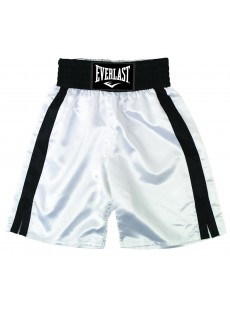 "Short de boxe Everlast ""Pro boxing trunks"" blanc/noir"