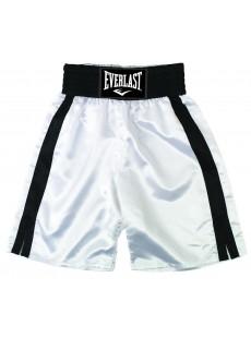 "Short de boxe Everlast ""Pro boxing trunks"" blanc/noir"
